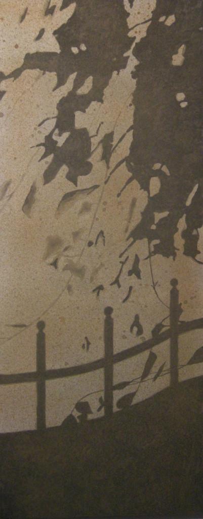 Il cancello, 2016, tecnica mista su tela, cm 40x100