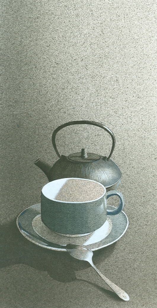 Una tazza di tè, 2011, tecnica mista su carta, cm 18x36