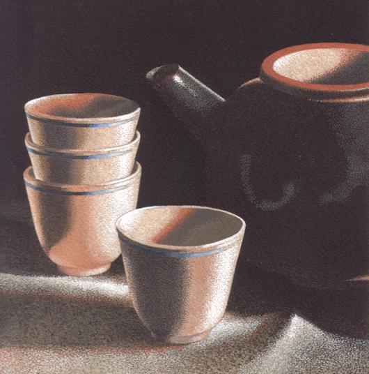 Una tazza di tè 4, 2011, tecnica mista su carta, cm 25x25
