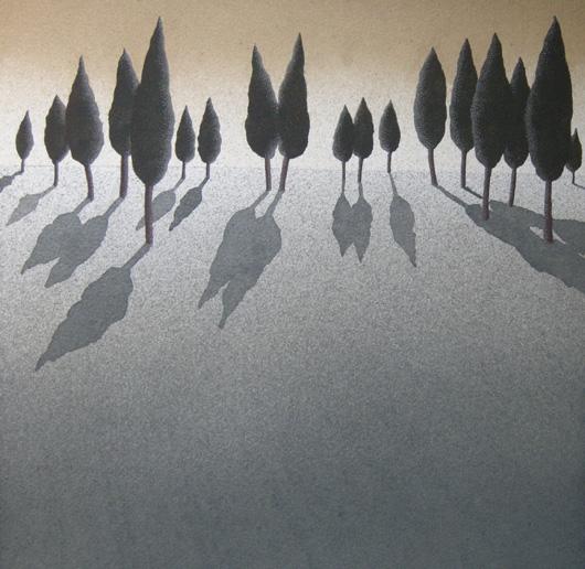 Tramonto, 2011, tecnica mista su carta, cm 30x30