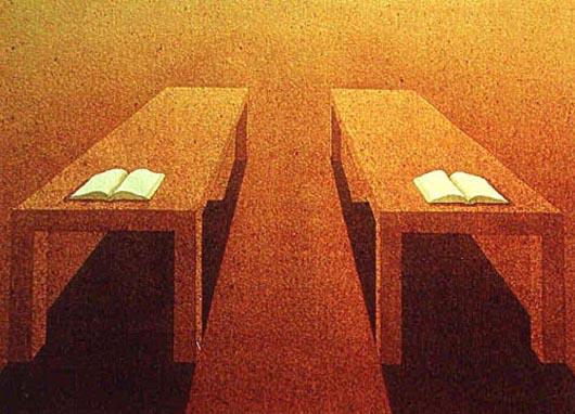 Due tavoli e due libri, 1999, acquerello su carta, cm 26x36