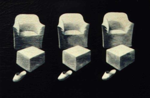 Poltrone e ciabatte, 1999, tecnica mista su tavola, cm 20x30