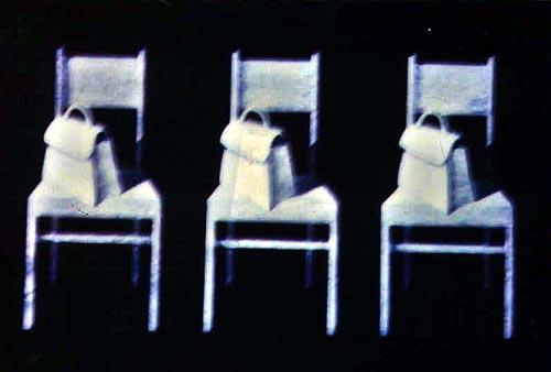 Sedie e borsette, 1999, tecnica mista su tavola, cm 20x30