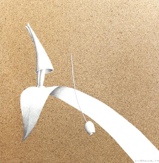 Mi è caduto, 2006, tecnica mista su carta, cm 20x20