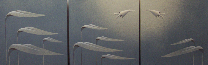 Incontrarsi, 2006, tecnica mista su carta, cm 50x150