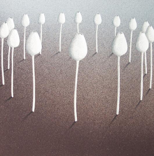 Aiuola, 2006, tecnica mista su carta, cm 30x30