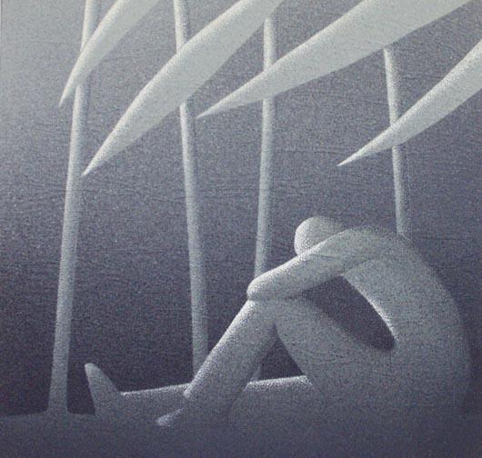 Chiaro di luna, 2004, tecnica mista su carta, cm 30x30