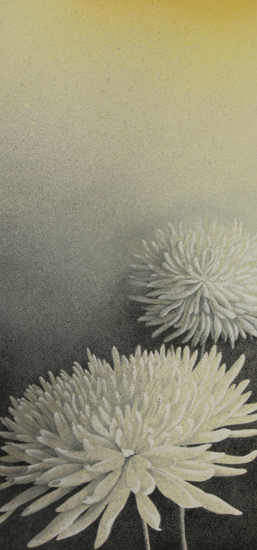 Crisantemo bianco, 2008, tecnica mista su carta, cm 20x40