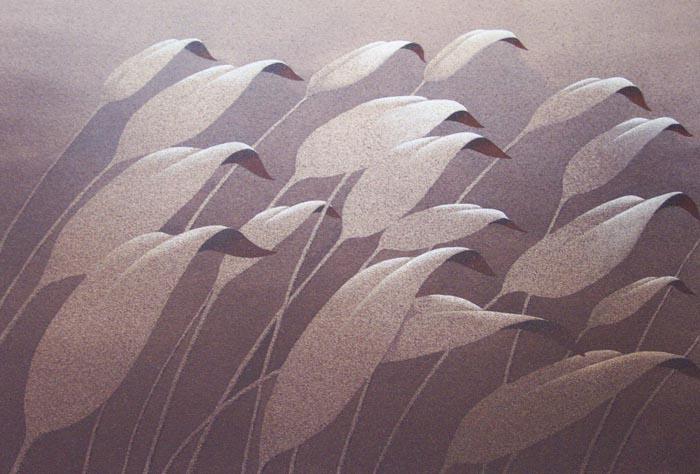 Tra le foglie, 2006, tecnica mista su carta, cm 30x50