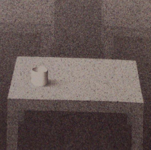 Un tavolo e un bicchiere, 2003, tecnica mista su carta, cm 15x15