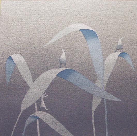 Tra le foglie, 2006, tecnica mista su carta, cm 30x30