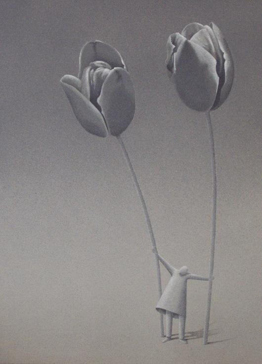 Venditore di tulipani, 2008, acrilico su tela, cm 50x80