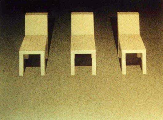 Tre sedie, 2001, tecnica mista su carta, cm 31x41