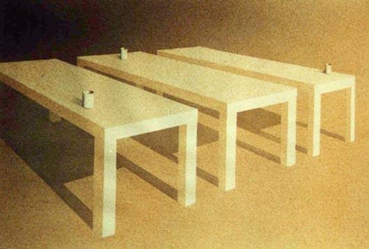 Tre tavoli, 2001, tecnica mista su carta, cm 21x31