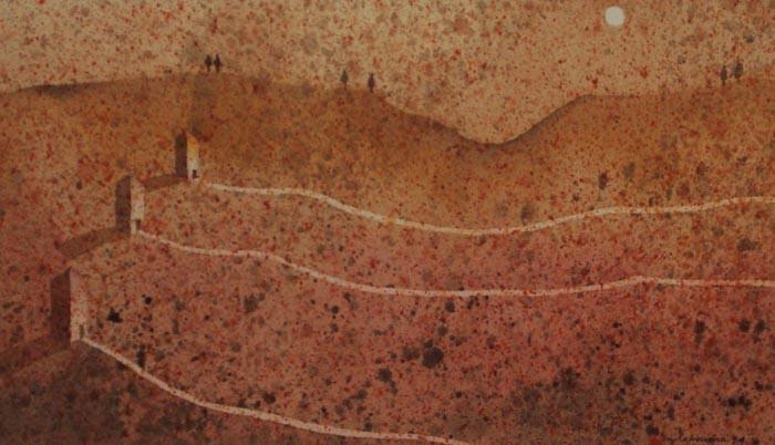 Tre torri, 1995, tecnica mista su carta, cm 18x30