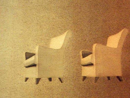 Due poltrone nel rosa, 2001, tecnica mista su carta, cm 26x36