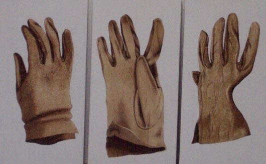 Guanti, 1996, tecnica mista su carta, cm 10x20 cad.