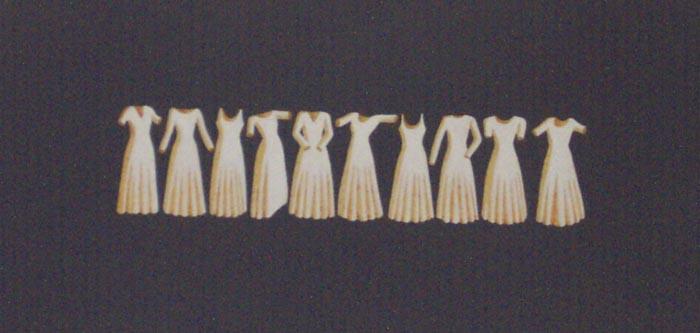 Dieci vestiti, 1997, tecnica mista su carta, cm 20x30