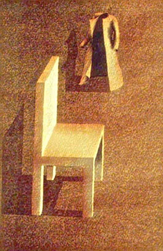 L'abito e la sedia, 1999, tecnica mista su carta, cm 19x27