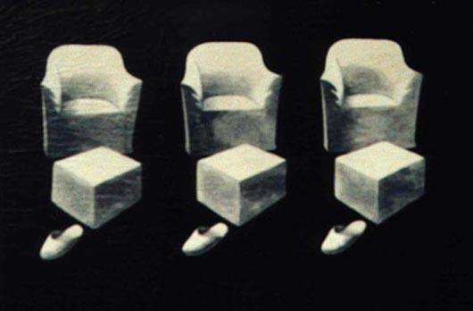 Poltrone e ciabatte, 1999, tecnica mista su carta, cm 20x30