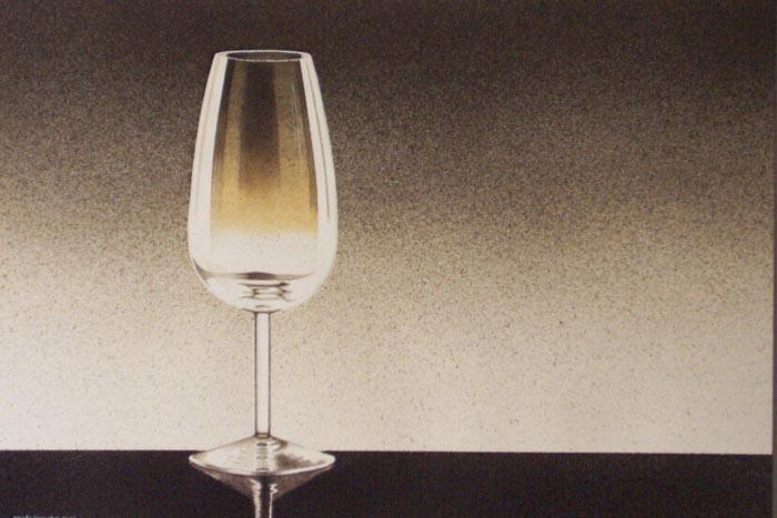 Il bicchiere, 2002, tecnica mista su carta, cm 36x51
