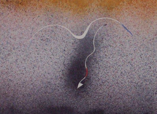 Freccia, 2000, tecnica mista su carta, cm 35x51
