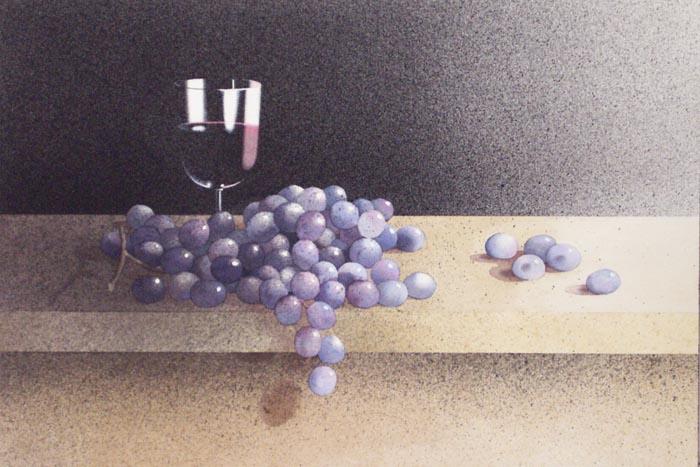 Grappolo viola, 2002, tecnica mista su carta, cm 31x51