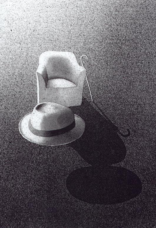 Il bastone, 2001, tecnica mista su carta, cm 18x24