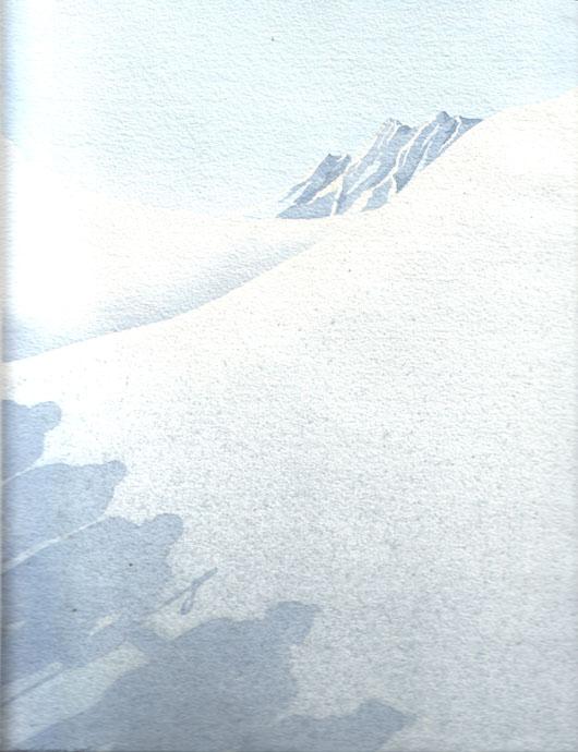La montagna, 2001, tecnica mista su carta, cm 18x24
