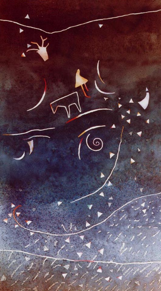 Notturno, 2000, tecnica mista su carta, cm 73x103