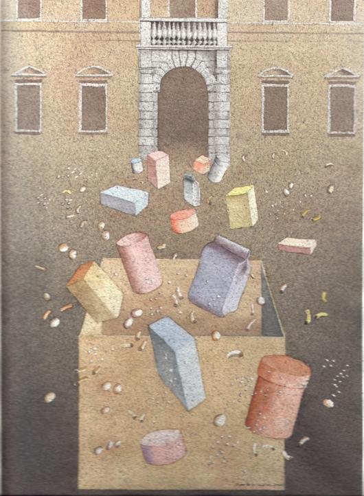 Regali, 2000, tecnica mista su carta, cm 25x35