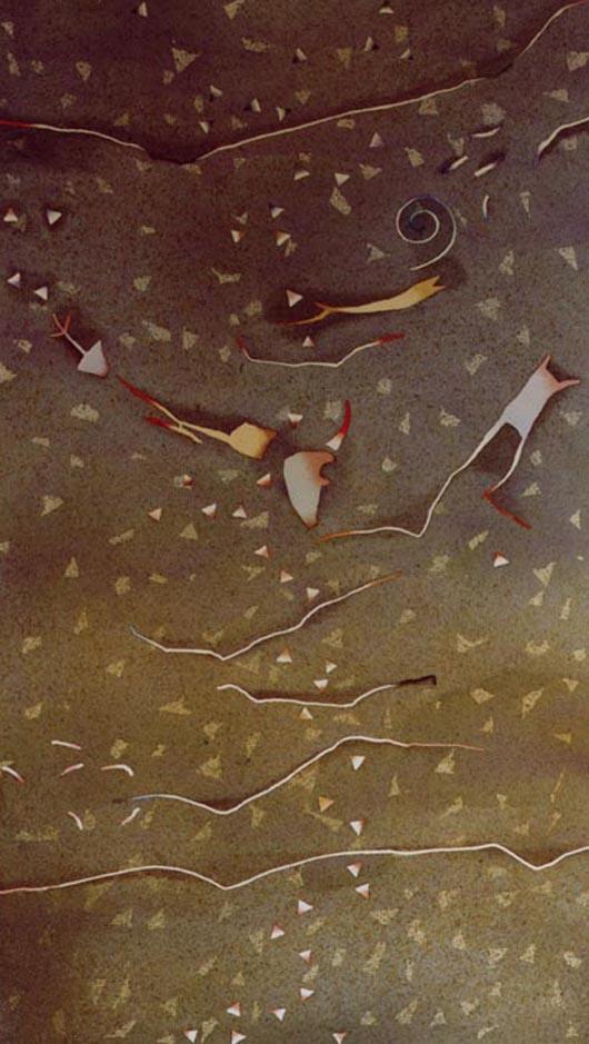 Sfuggente, 2000, tecnica mista su carta, cm 73x103