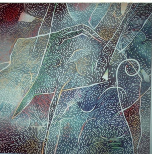 Nebbioso, 1989, olio su tavola, cm 100x100