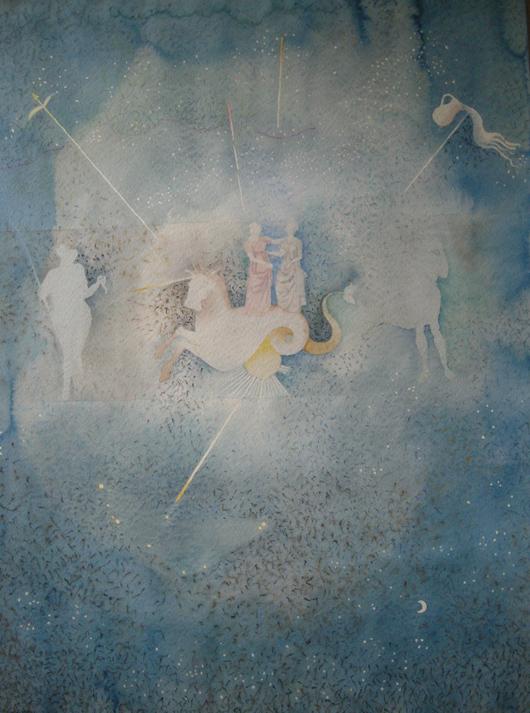 L'acquario e..., 1987, acquerello, cm 35x50