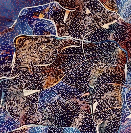 Bleu, 1989, olio su tavola, cm 100x100