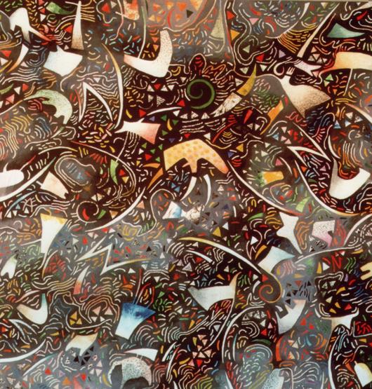 Passione, 1990, olio su tavola, cm 100x100