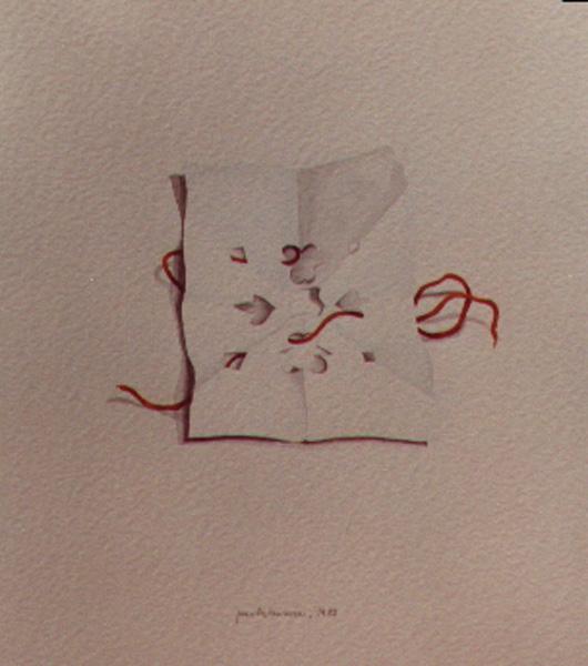 Carta e filo, 1984, acquerello, cm 30x50