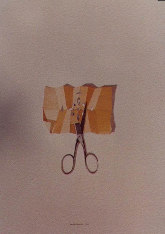 Forbici e carta, 1984, acquerello, cm 30x50