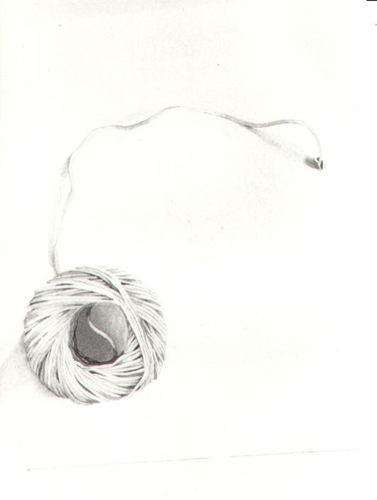 Gomitolo di spago, 1982, acquerello, cm 20x30