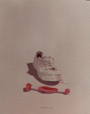 Tennis e ricamo, 1980, acquerello, cm 25x30