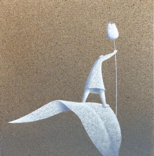 Preso, 2013, tecnica mista su carta, 20x20cm