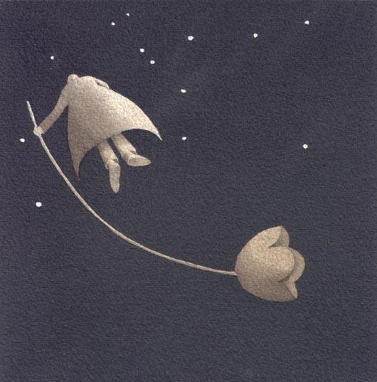 Sotto le stelle, 2013, tecnica mista su carta, 20x20cm