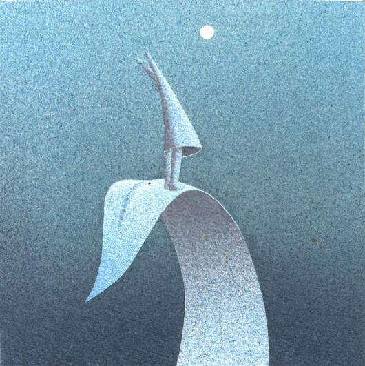 Alla luna, 2013, tecnica mista su carta, 20x20cm