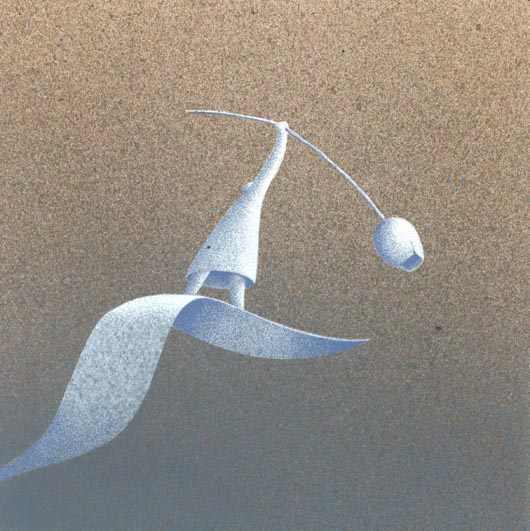 In punta di piedi, 2013, tecnica mista su carta, 20x20cm