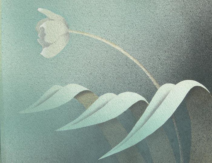 Tre foglie e un fiore, 2013, tecnica mista su carta, 22x30cm