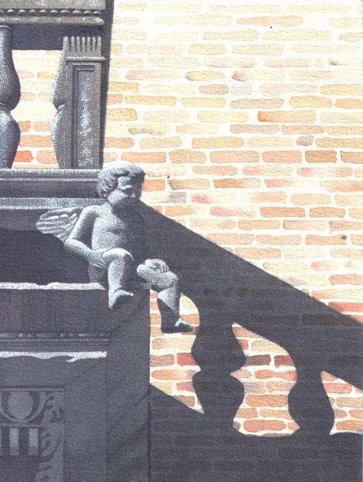Paola Bonora, Schiacciato dal peso…, 2012, tecnica mista  cm. 24x18