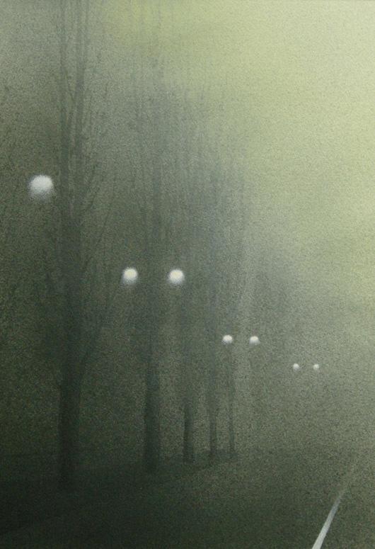 Nebbia, 2014, tecnica mista su carta, cm 35x50