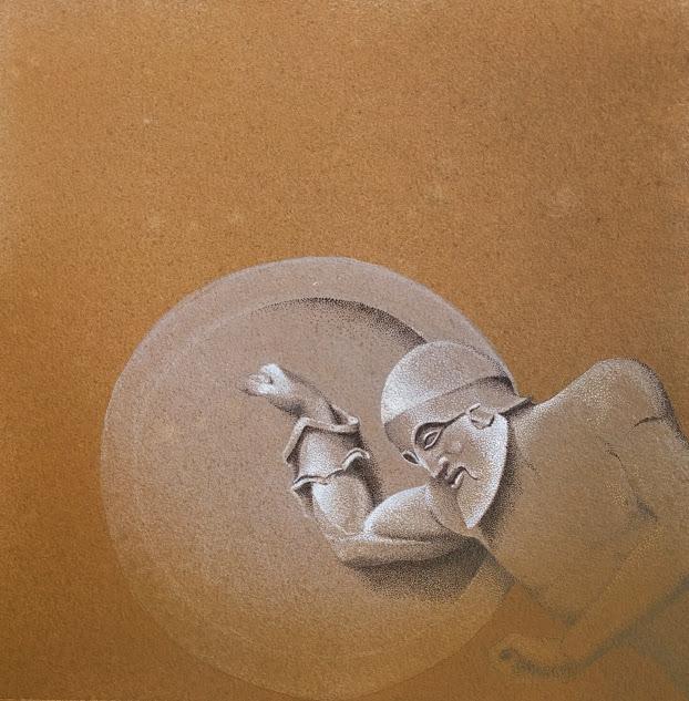 Eroe, 2016, tecnica mista su carta, cm 30x30